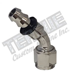 -06 AN 45° STAINLESS STEEL PUSH LOCK HOSE END
