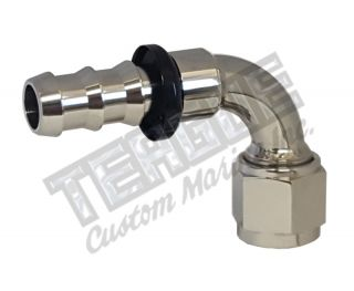 Picture of -10 AN 90° STAINLESS STEEL PUSH LOCK HOSE END