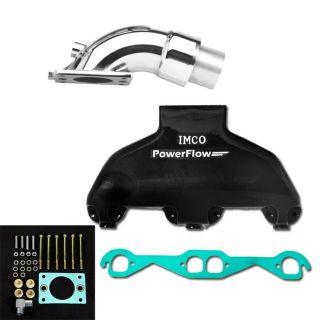 """PowerFlow Small Block Manifold and """"SA"""" Riser Kit Black"""