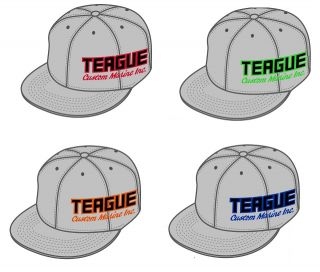 Teague Silver Side Logo Embroidered FlexFit Hat with choice of accent / outline color on logo