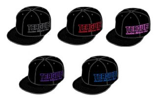 Teague Side Logo Embroidered FlexFit Hat in Black with your choice of embroidery color