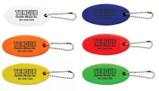 Teague Oval Floaty Key Chains in Assorted Colors: White, Blue, Orange, Red, Yellow, and Green