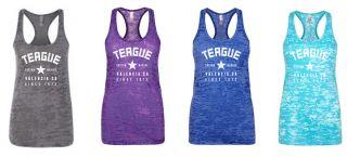 Teague Varsity Burnout Tank in Charcoal, Royal Purple, Royal Blue and Tahiti Blue