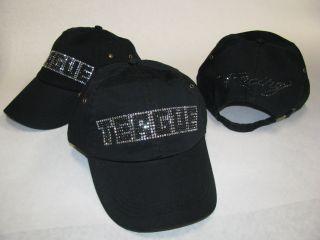 Teague Custom Marine Bling Hat with Jet Hematite Rhinestones