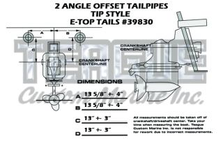 TRANSOM TIP E-TOP TAILPIPES 2 ANGLE OFFSET