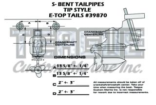 TRANSOM TIP E-TOP TAILPIPES S-BEND STRAIGHT BACK MITERED