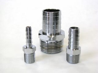 1/2 Barb to 3/8 NPT STR CHROME BRASS ADAPTER