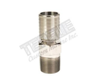 "SS 1 1/4"" PUSH-ON HOSE FITTING STRAIGHT W/HEX NUT"