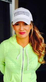 Teague Custom Marine Bling in Hat White with Jet and Crystal Rhinestones