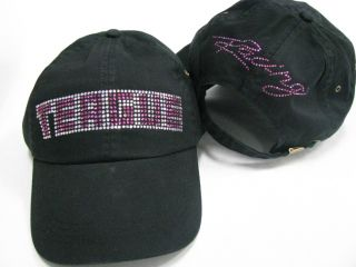 Teague Bling Hat Black with Fuchsia Rhinestones