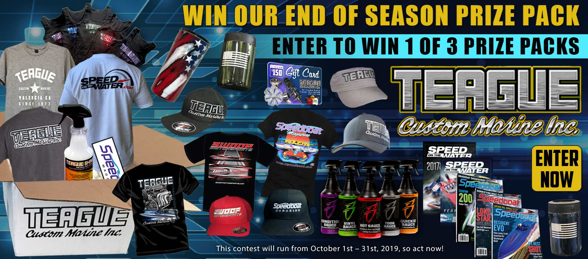Image of our end of season prize pack giveaway, enter now!