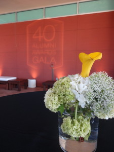 The outdoor patio of the CSULA Golden Eagle Ballroom was setup for the cocktail reception.
